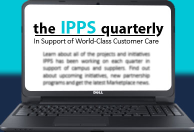 laptop screen displaying IPPS quarterly newsletter